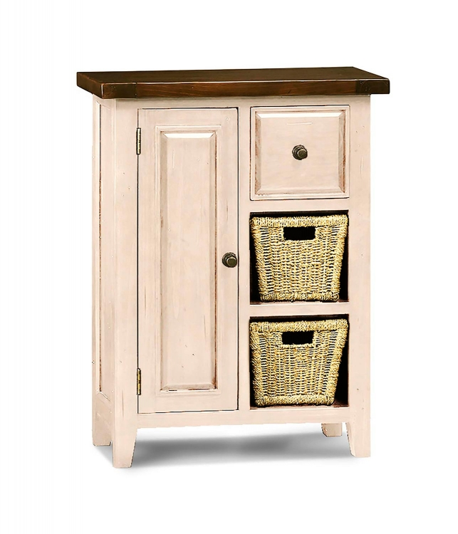 Tuscan Retreat Coffee Cabinet with 2 Shelf/Baskets - Country White