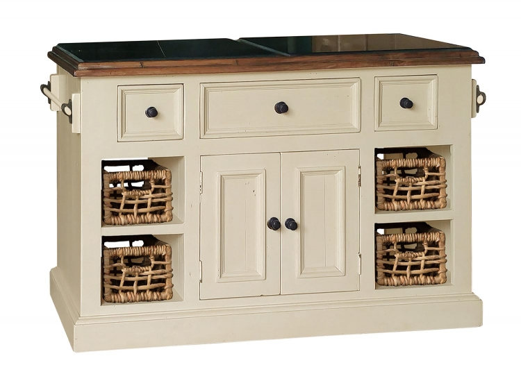 Tuscan Retreat Large Granite Top Kitchen Island with 2 Baskets - Country White