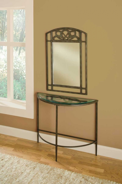 Marsala Console Table and Mirror - Gray with Brown Rub/ Glass