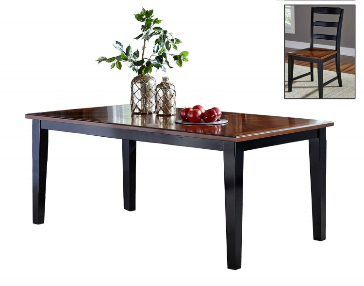 Avalon Extension Dining Set - Black/Cherry