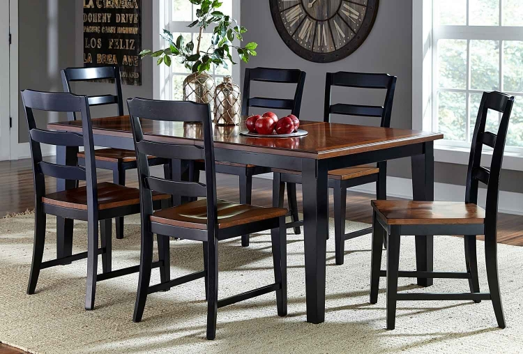 Avalon 7 PC Dining Set - Black/Cherry