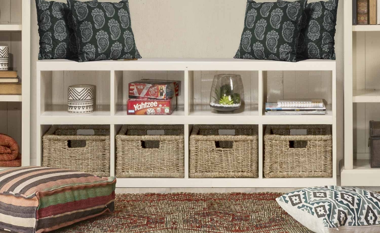 Tuscan Retreat Storage Cube with Baskets - Country White