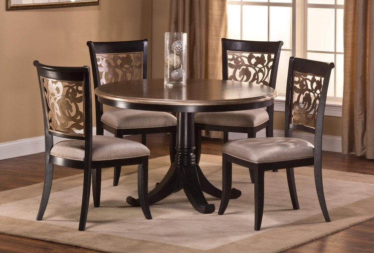 Bennington 5 PC Dining Set - Black Distressed Gray - Putty Fabric