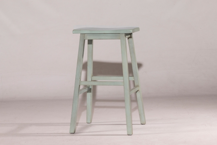 Moreno Non-Swivel Backless Bar Stool - Blue/Gray - Ecru Fabric
