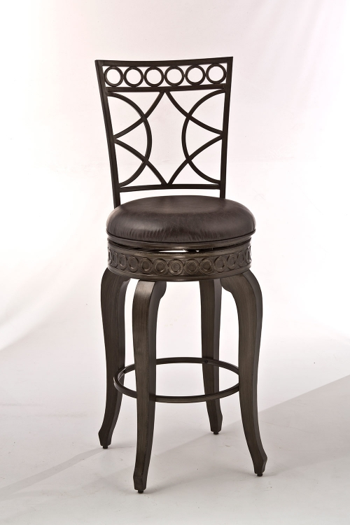 Webster Swivel Bar Stool - Antique Brushed Pewter - Charcoal Faux Leather