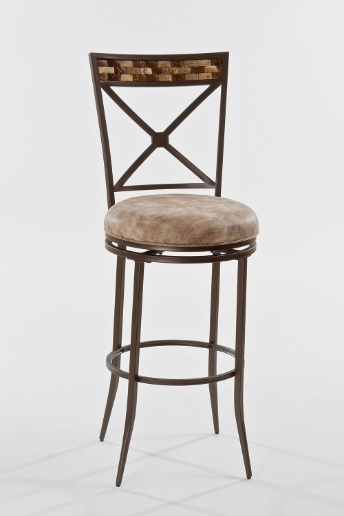 Compton Swivel Bar Stool - Brown - Weathered Beige Leatherette