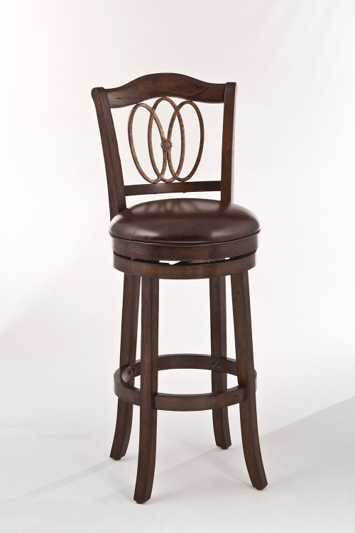 Lyndale Swivel Bar Stool - Distressed Chestnut - Brown Faux Leather