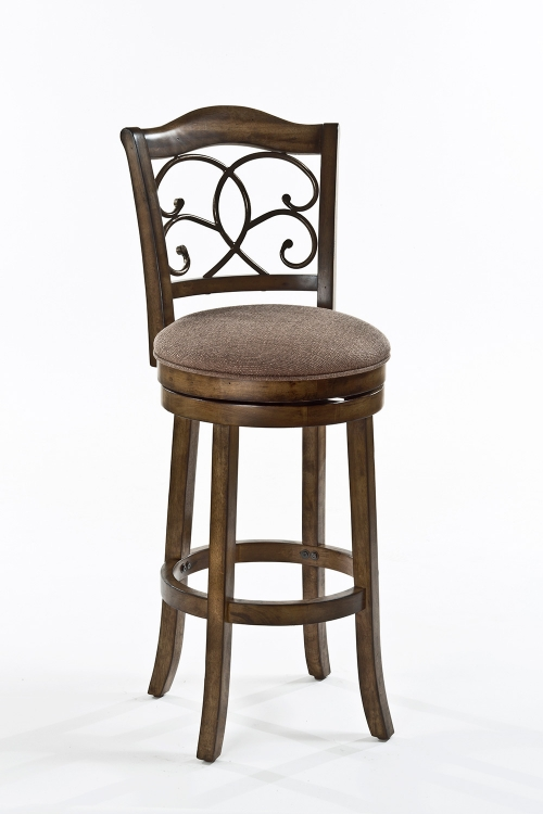 McLane Swivel Counter Stool - Rich Walnut - Mocha Fabric