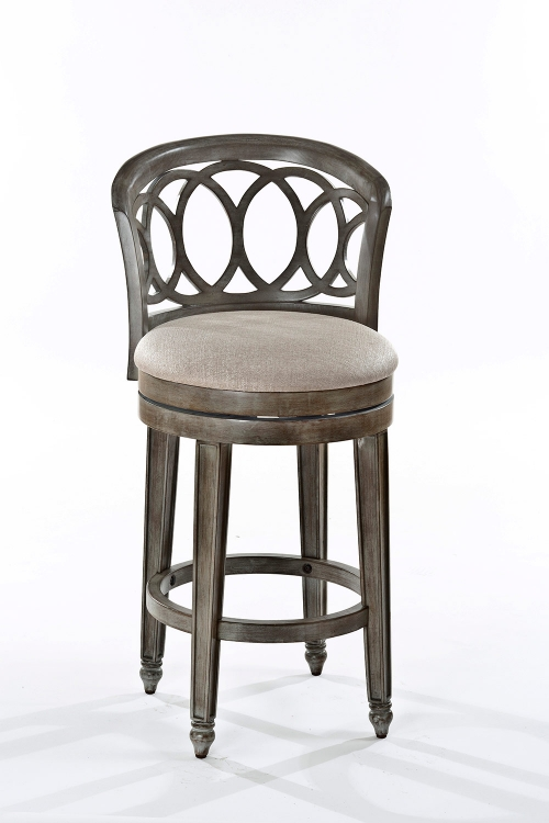 Adelyn Swivel Bar Stool - Gold Metallic Silver - Putty Fabric