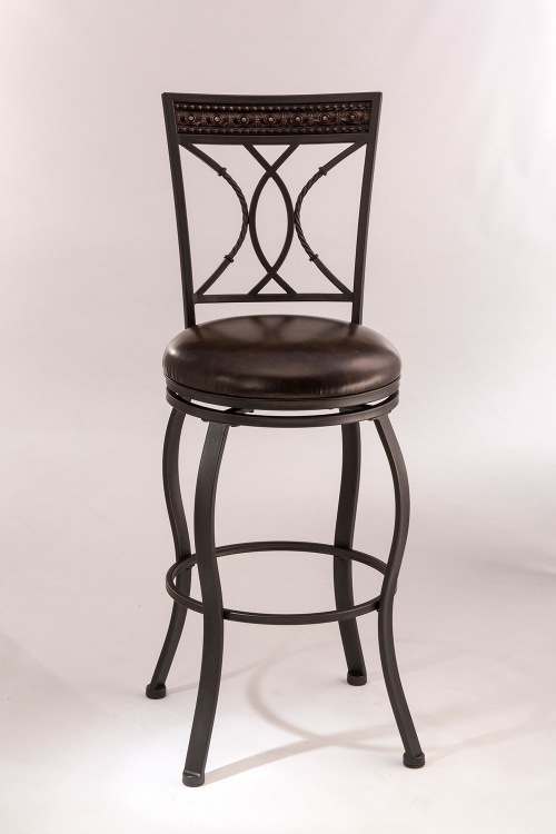 Kirkham Swivel Bar Stool - Black Silver - Dark Brown Leatherette