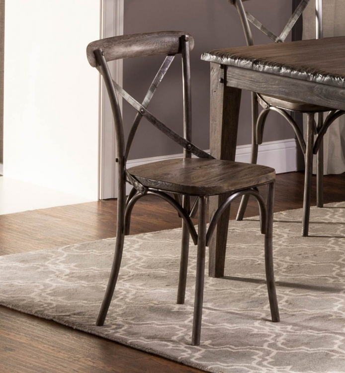 Lorient X-Back Dining Chair - Washed Charcoal Gray/Aged Steel Metal