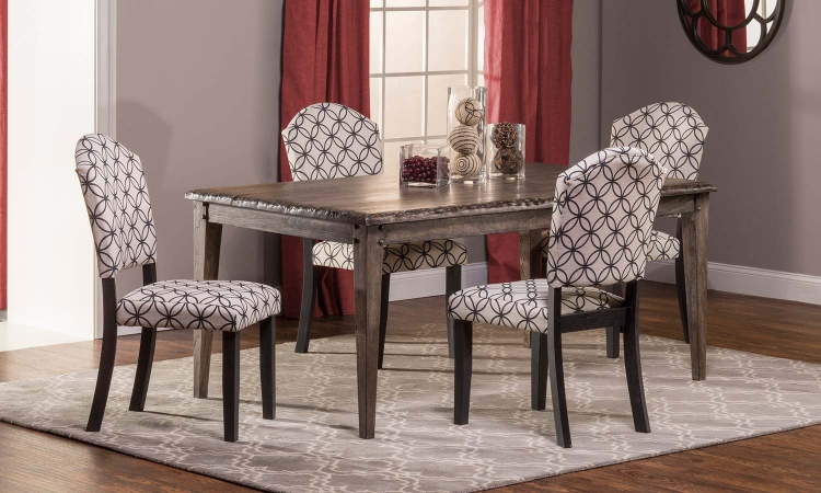 Lorient 5 PC Rectangle Dining Set with Parsons Chair - Washed Charcoal Gray/Black - Bristol Black - Off White with Black Circle Pattern