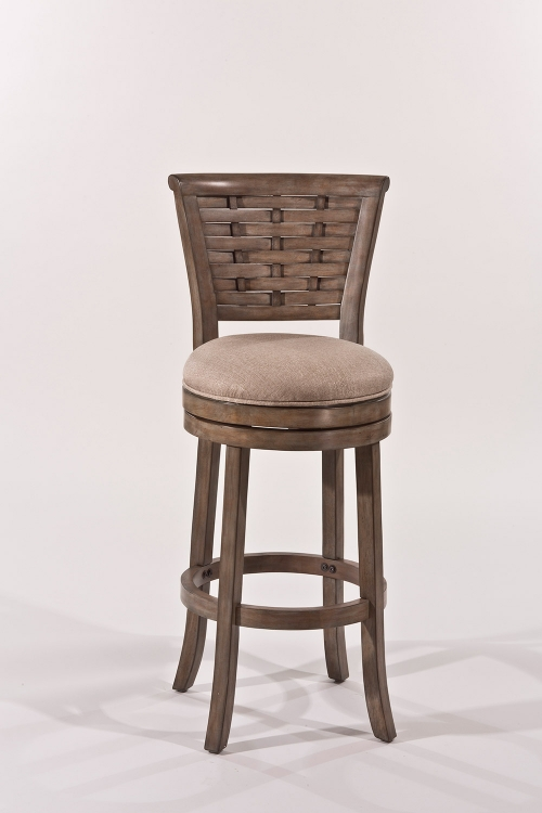 Thredson Swivel Bar Stool - Gold Metallic Silver - Putty Fabric