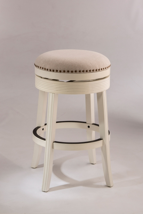 Tillman Backless Swivel Bar Stool - White - Beige Fabric