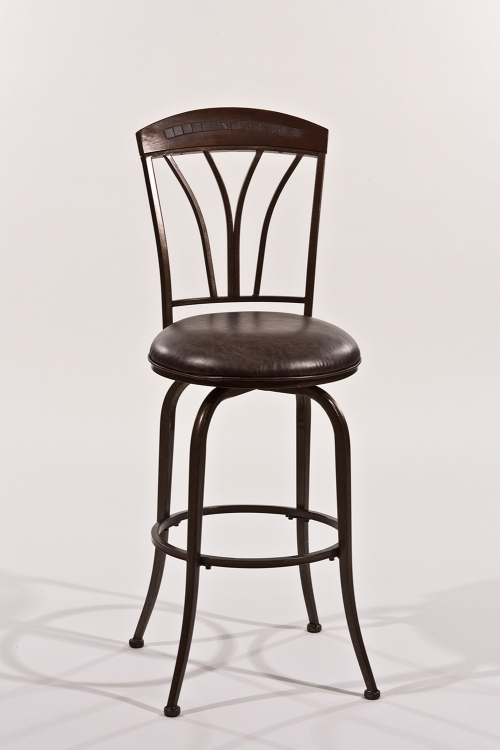 Marano Swivel Bar Stool - Speckled Bronze Pewter - Charcoal Faux Leather