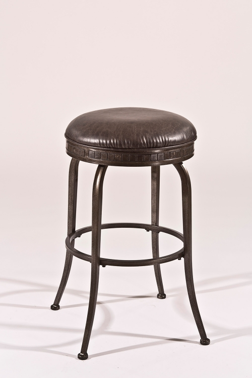Harper Backless Swivel Counter Stool - Weathered Pewter - Charcoal Faux Leather
