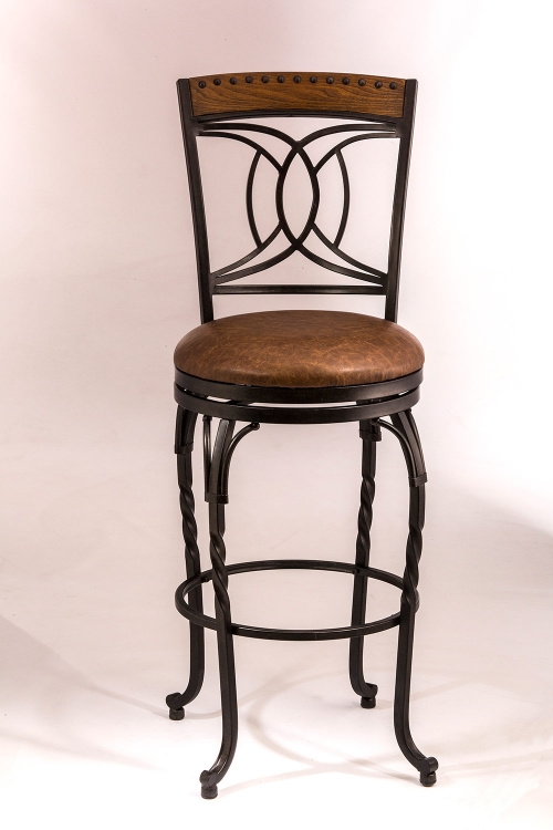 Donovan Swivel Counter Stool - Antique Brown - Brown Faux Leather