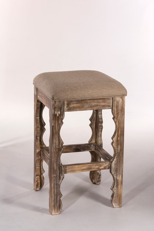 Carrara Backless Bar Stool - Whitewash - Woven Beige Fabric