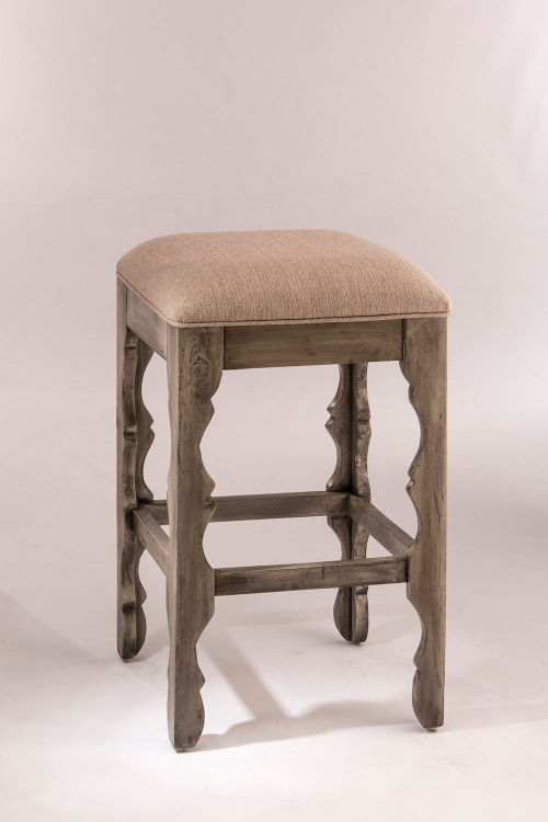 Carrara Backless Bar Stool - Graywash - Woven Beige Fabric