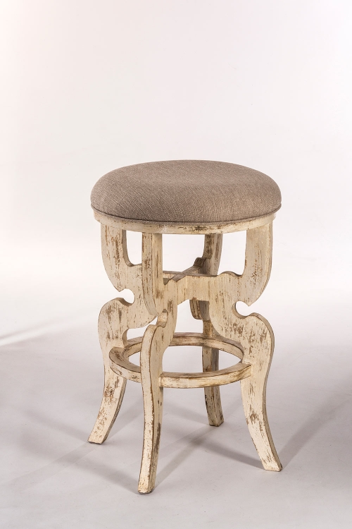 Medlock Backless Counter Stool - Whitewash - Woven Beige Fabric