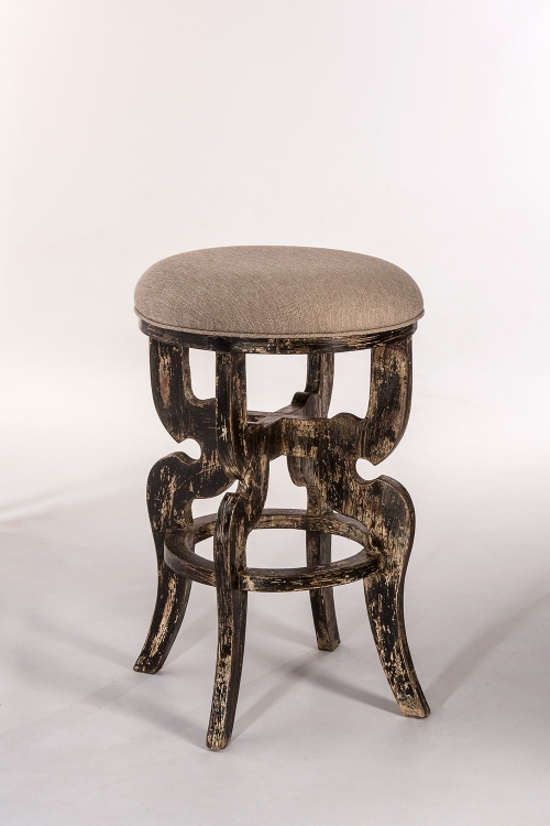 Medlock Backless Bar Stool - Blackwash - Woven Beige Fabric