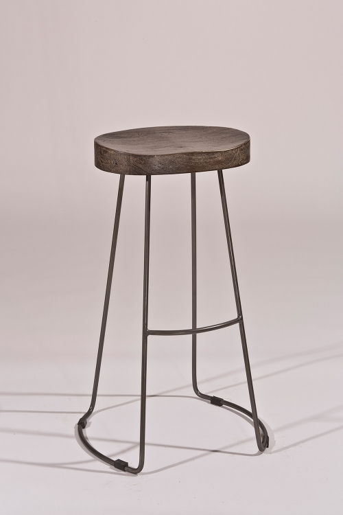 Hobbs Tractor Non-Swivel Counter Stool - Distressed Black/Pewter