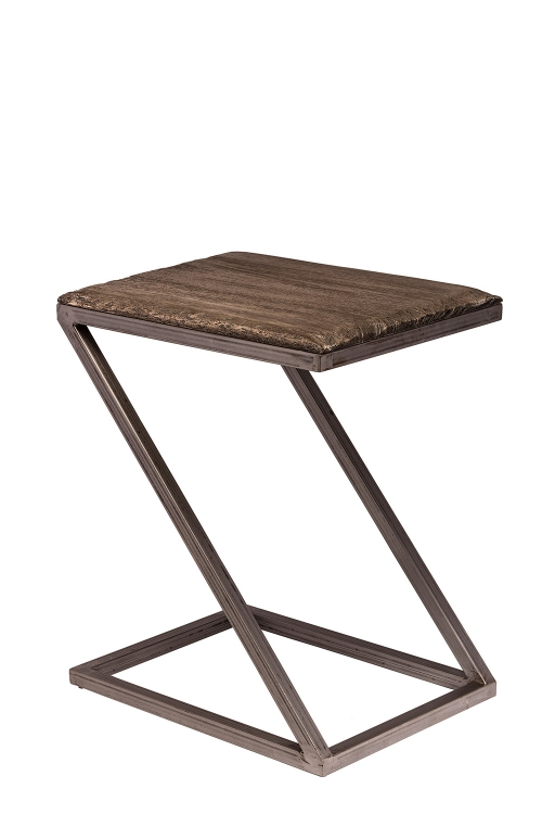 Lorient Z-Shape Accent Table - Washed Charcoal Gray/Aged Steel Metal