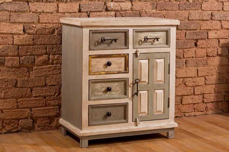 LaRose Five Drawer One Door Cabinet - Dove Gray/Antique White