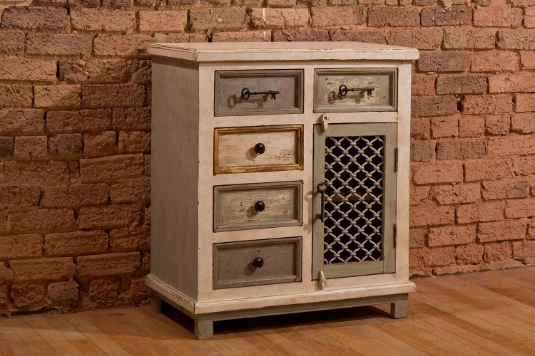 LaRose Five Drawer One Door Cabinet with Chicken Wire - Dove Gray/Antique White