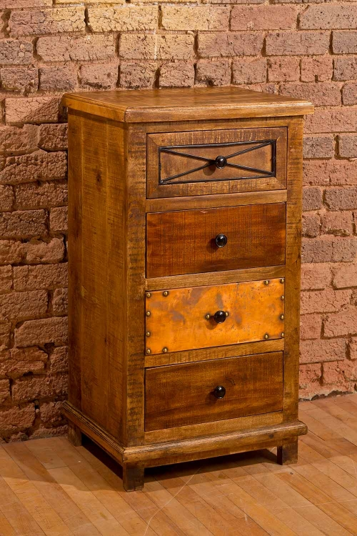 Belina Four Drawer Cabinet with X Design - Deep Pine