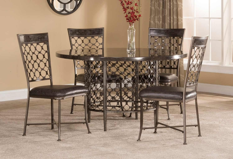 Brescello 5-Piece Round Dining Set - Charcoal/Blue Stone