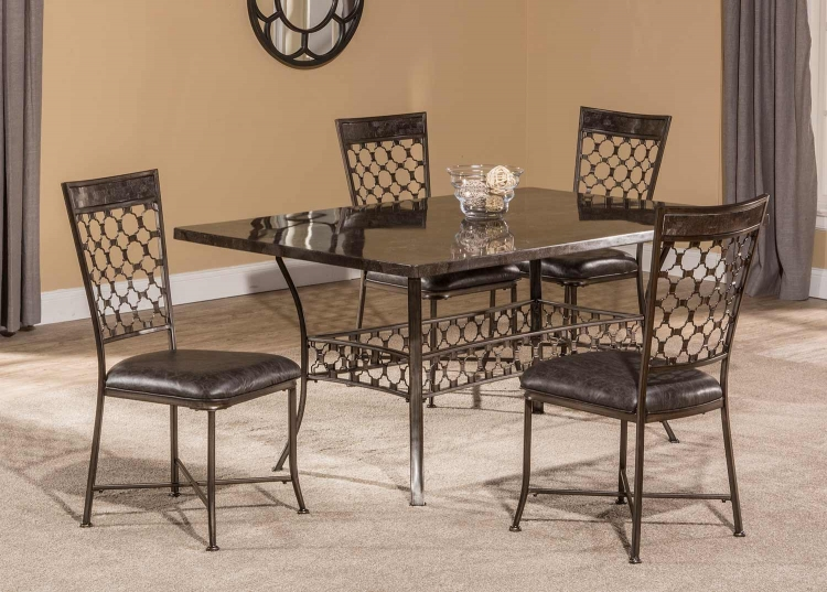 Brescello 5-Piece Rectangle Dining Set - Charcoal/Blue Stone