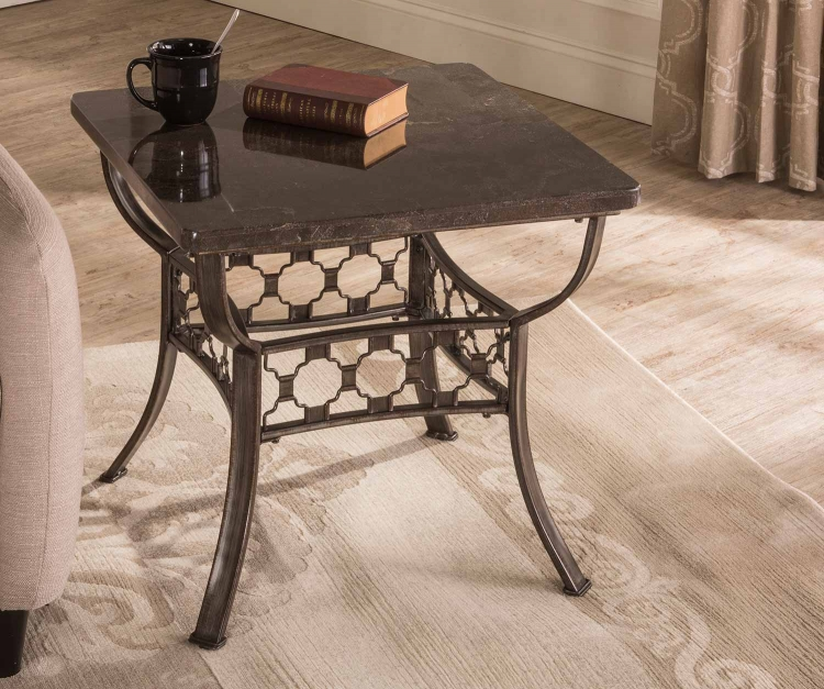 Brescello Square End Table - Charcoal/Blue Stone
