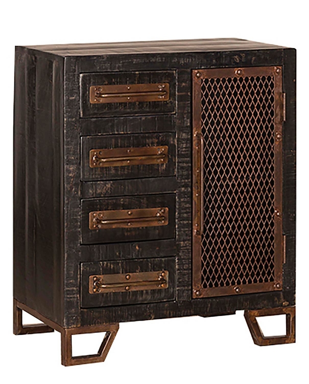 Bridgewater Cabinet with Four Drawer/One Door with Chicken Wire - Black Wood/Zinc Metal