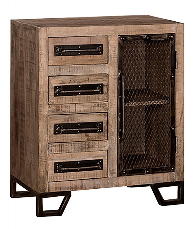 Bridgewater Cabinet with Four Drawer/One Door with Chicken Wire - Tan Wood/Black Metal