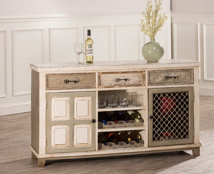 LaRose Console Table with 2 Door Storage and Wine Rack - Handpainted White/Gray