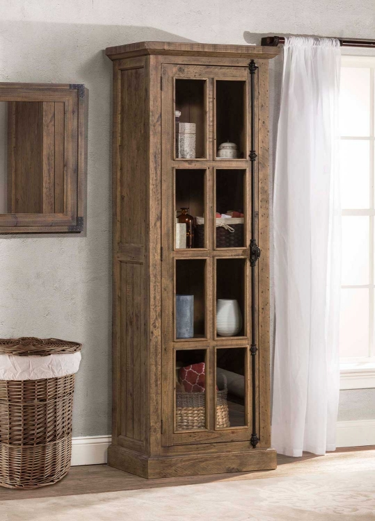 Tuscan Retreat Tall Single Door Cabinet - Aged Gray
