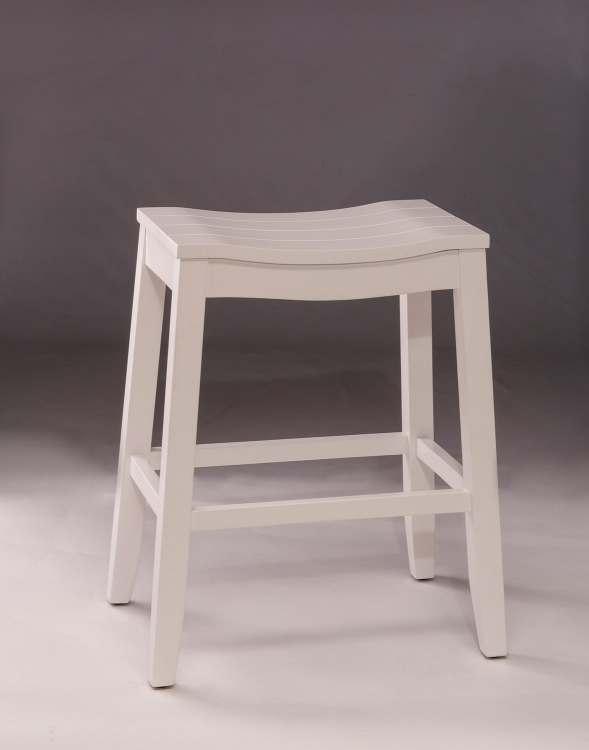 Fiddler Backless Non-Swivel Bar Stool - White