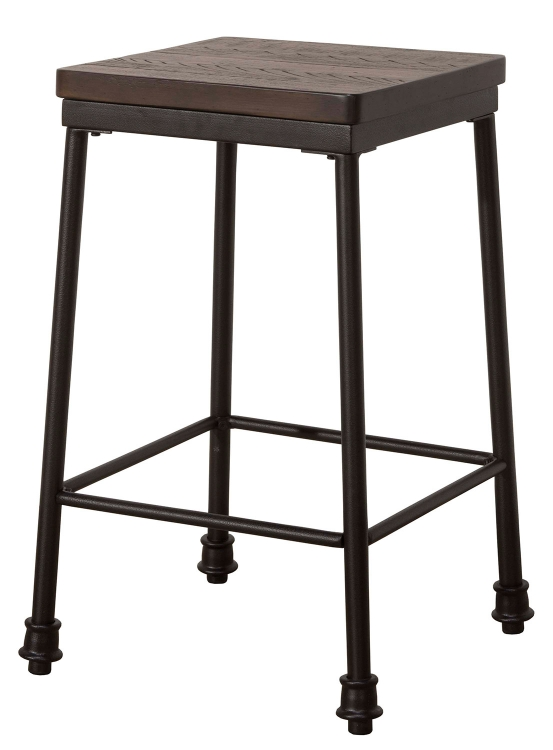Castille Non-Swivel Counter Height Stool - Black/Walnut