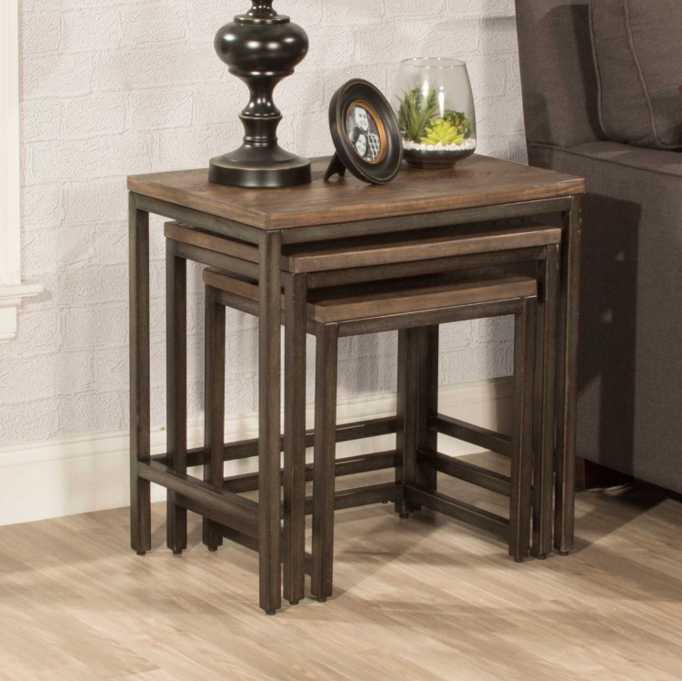 Castille Nesting Tables - Set of 3 - Black/Distressed Walnut
