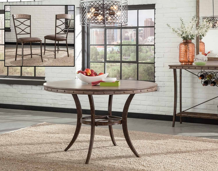 Emmons Dining Set with Round Table - Washed Gray