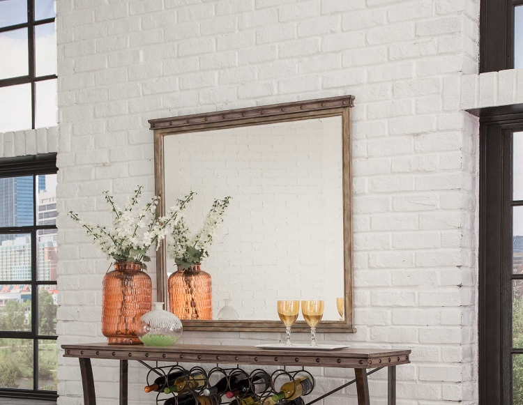 Emmons Square Mirror - Washed Gray