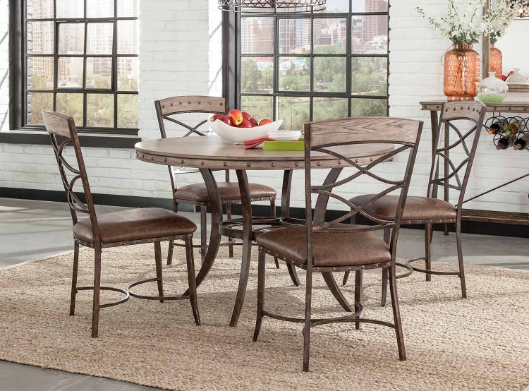 Emmons 5-Piece Round Dining Set - Washed Gray