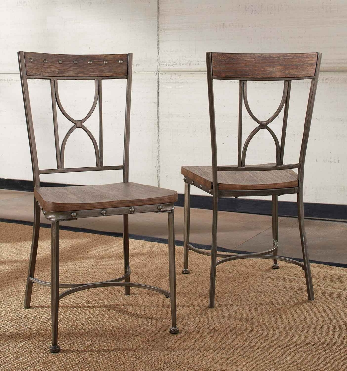 Paddock Dining Chair - Brushed Steel Metal/Distressed Brown