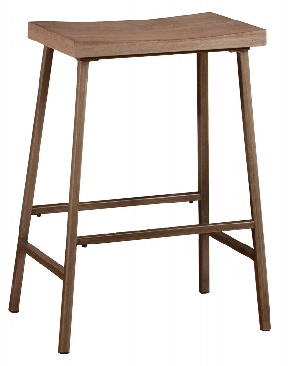 Kennon Backless Non-Swivel Counter Stool - Steel Metal/Brown-Gray
