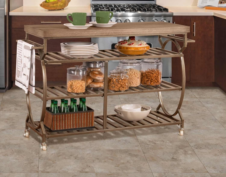 Paddock Kitchen Cart - Steel Metal/Brown-Gray