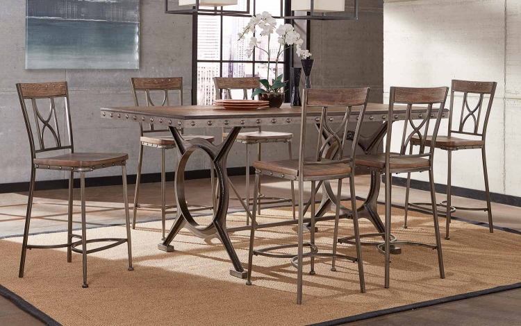 Paddock 7-Piece Counter Height Dining Set - Brushed Steel Metal/Distressed Brown