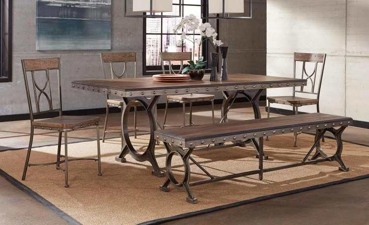 Paddock Dining Set - Brushed Steel Metal/Distressed Brown