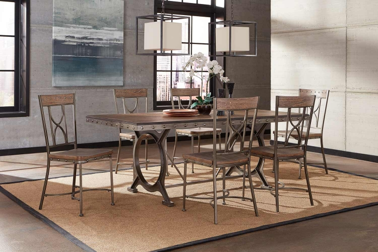 Paddock 7-Piece Rectangle Dining Set - Brushed Steel Metal/Distressed Brown
