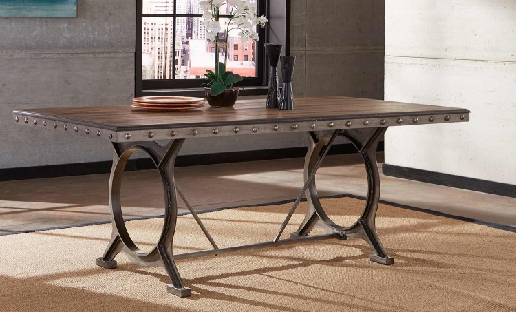 Paddock Rectangle Dining Table - Brushed Steel Metal/Distressed Brown
